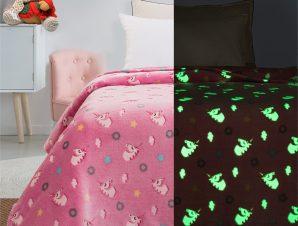 Κουβέρτα μονή φωσφορίζουσα Art 6093 160×220 Ροζ Beauty Home