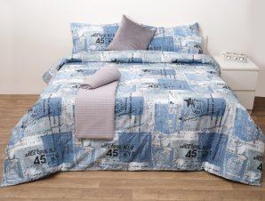 Viopros Σετ Σεντόνια King Size 280×265 Νέα Υόρκη Μπλε