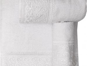 Viopros Σετ 2 Τεμ Πετσέτες 30×50, 50×100 με Δανδέλα Νο9 Λευκό