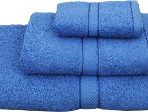 Viopros Σετ 3 Τεμ Πετσέτες 30×50, 50×100, 70×140 Classic Μπλε