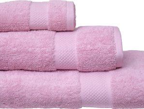 Viopros Σετ 3 Τεμ Πετσέτες 30×50, 50×100, 70×140 Luxor Ροζ